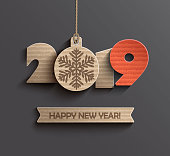 Modern creative card for happy new year 2019 paper design. Perfect for presentations, flyers and banners, leaflets, postcards and posters. Vector illustration EPS10.
