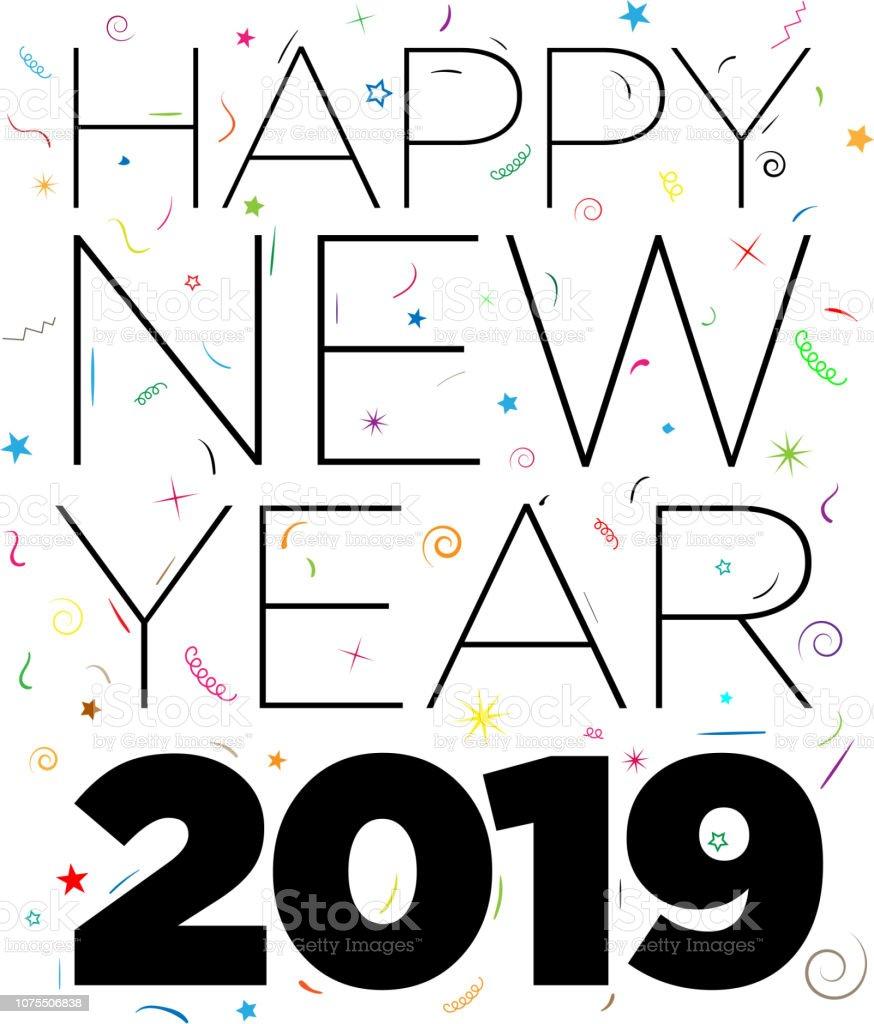 Modern Happy New Year Card vector art illustration