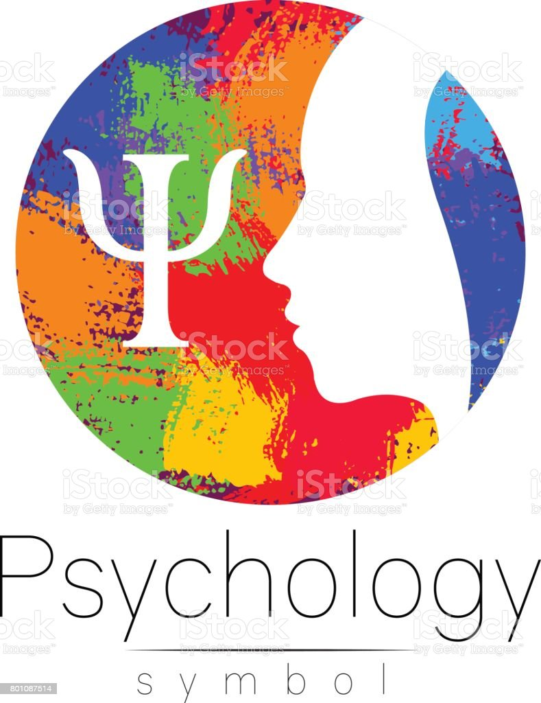 Modern head icon sign of Psychology. Profile Human. Letter Psi. Creative style. Symbol in vector. Design concept. Brand company. White color isolated on rainbow brush background Icon for web icontype. vector art illustration