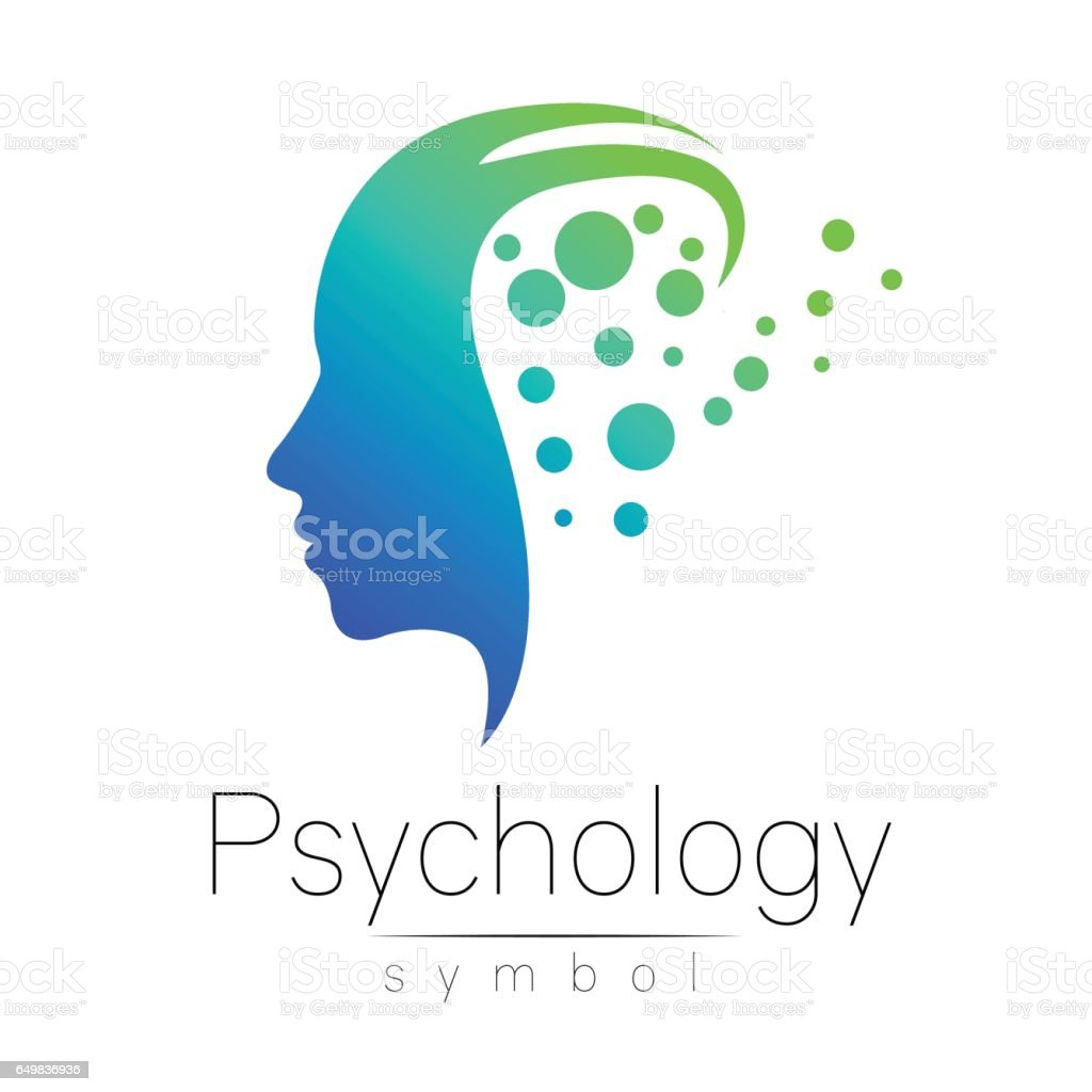 Modern head sign of Psychology. Profile Human. Creative style. Symbol in vector. Blue green color isolated on white background. Icon for web, print. vector art illustration
