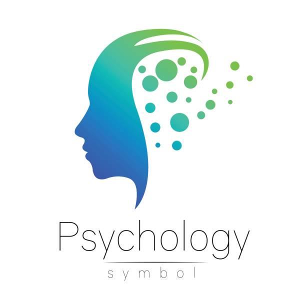 ilustrações, clipart, desenhos animados e ícones de sinal de cabeça moderno da psicologia. perfil humano. estilo criativo. símbolo em vetor. cor azul e verde isolado no fundo branco. ícone para web, impressão. - profissional de saúde mental