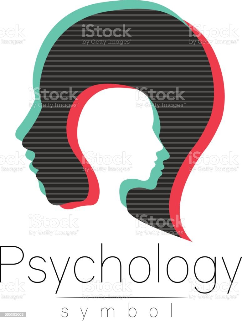 Modern head sign of Psychology. Profile Human. Glitch effect. Symbol in vector. Design concept. Brand company. isolated on white background. Icon for web, print. Look like old tv screen error vector art illustration