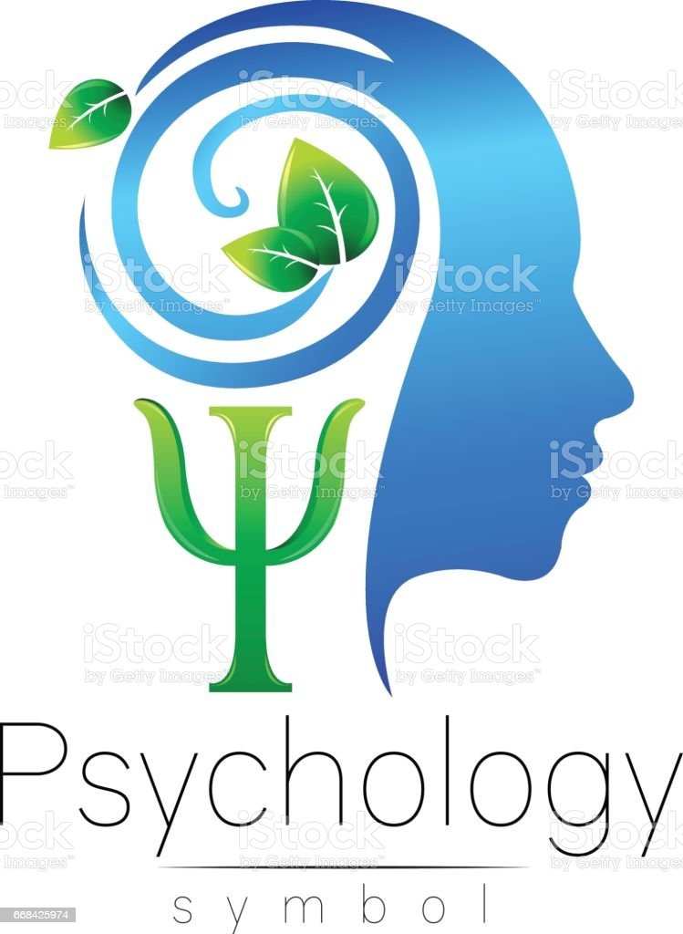 Modern head sign of Psychology. Profile Human. Green Leaves. Letter Psi . Symbol in vector. Design concept. Brand company. Blue color isolated on white background. Icon for web