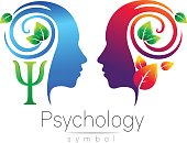 Modern head  sign of Psychology. Profile Human. Green Leaves. Letter Psi . Symbol in vector. Design concept. Brand company. Blue color isolated on white background. Icon for web, type.