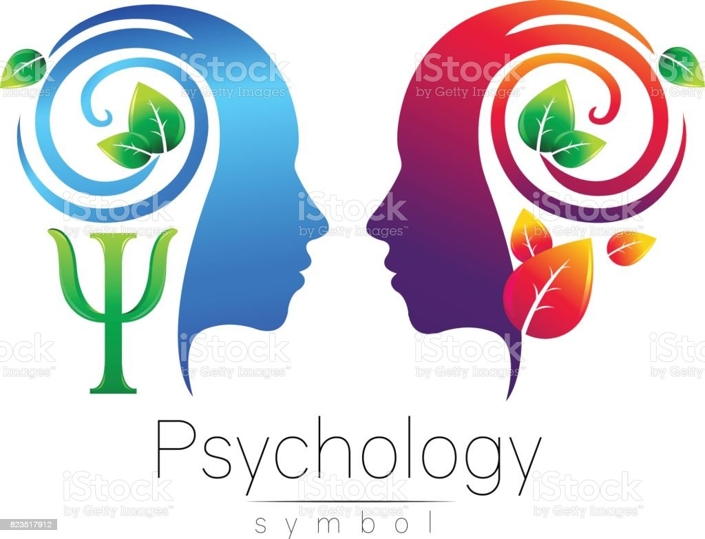 Modern head  sign of Psychology. Profile Human. Green Leaves. Letter Psi . Symbol in vector. Design concept. Brand company. Blue color isolated on white background. Icon for web, type. vector art illustration