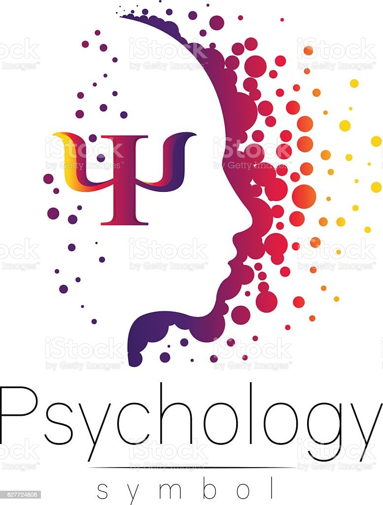 Modern head sign of Psychology. Profile Human. Letter Psi. Creative