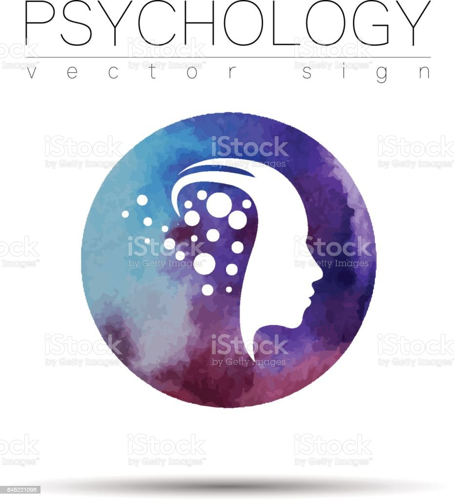 Modern head sign of Psychology. Profile Human. Watercolor style. Symbol in vector. Design concept. Violet color blot. Icon for web, print. vector art illustration