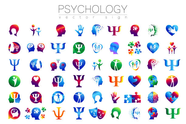 Modern head sign Set of Psychology. Profile Human. Creative style. Symbol in vector. Design concept. Brand company. Green orange blue violet color isolated on white background. Icon for web, print vector art illustration