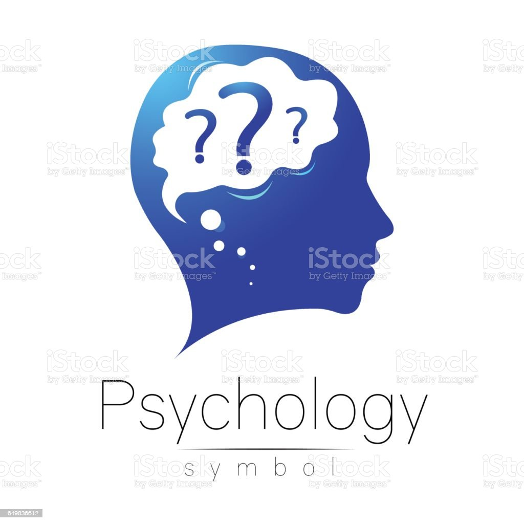 Modern head with question inside brain . sign of Psychology. Profile Human. Creative style. Symbol in vector. Design concept. Blue color isolated on white background. Icon for web. vector art illustration