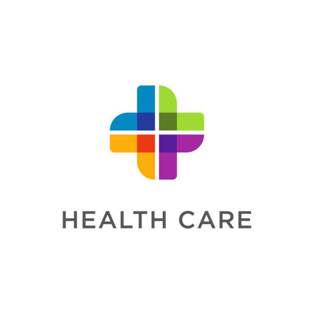 illustrazioni stock, clip art, cartoni animati e icone di tendenza di modern health care business icon cross symbol design element - croce farmacia