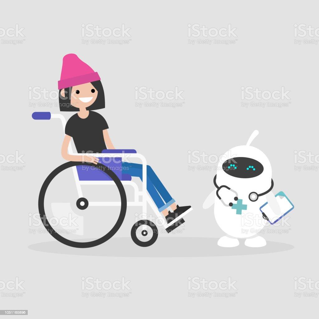 Moderne medizinische Versorgung. Neue Technologien. Junge Behinderte Charakter in einem Rollstuhl sitzt. Behinderung. Niedlichen weißen Arzt Roboter. Flach bearbeitbares Vektor-Illustration, ClipArt – Vektorgrafik