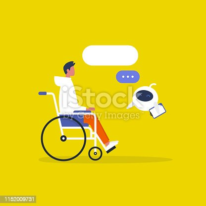 istock Modern health care. New technologies. Young disabled male character sitting in a wheelchair. Disability. Cute white doctor robot. Flat editable vector illustration, clip art 1152009731
