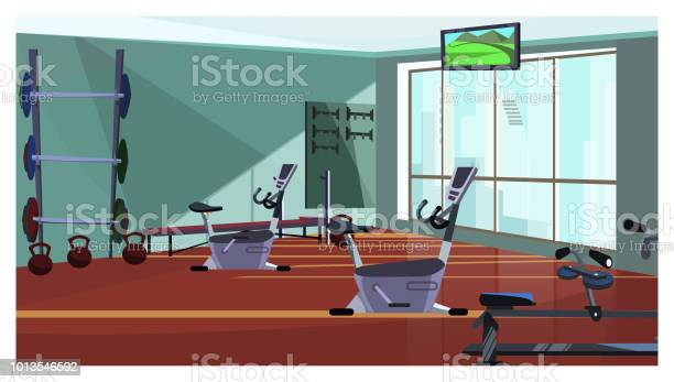 Modern health club with exercising equipment vector illustration vector id1013546592?b=1&k=6&m=1013546592&s=612x612&h=yq6lhtp9 sogv86 0langerlzuxmombqjez1knzgrjc=