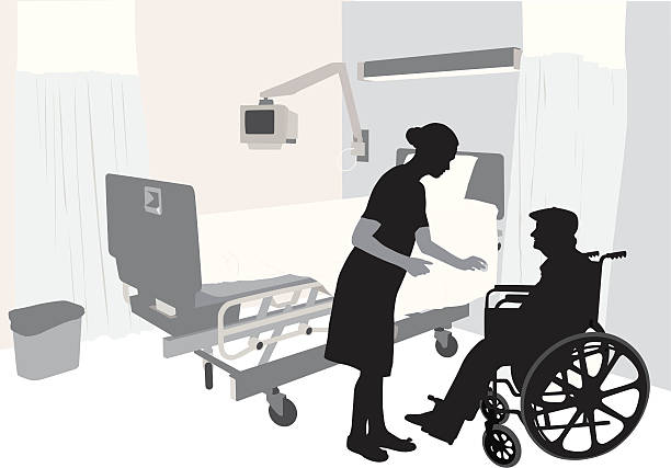 modern health vector silhouette - old man sick hospital bed silhouette stock illustrations, clip art, cartoons, & icons
