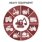 Modern heavy equipment Infographic design template with icons. Special construction machinery Infographic visualization on white background. Creative vector illustration for infographic