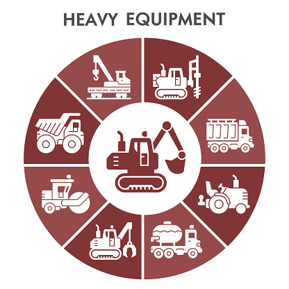 Modern heavy equipment Infographic design template with icons. Special construction machinery Infographic visualization on white background. Creative vector illustration for infographic.