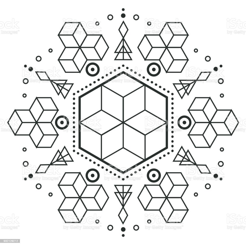 Modern Hexagon Arrow Design Tattoo Vector Image Stock Vector Art ...