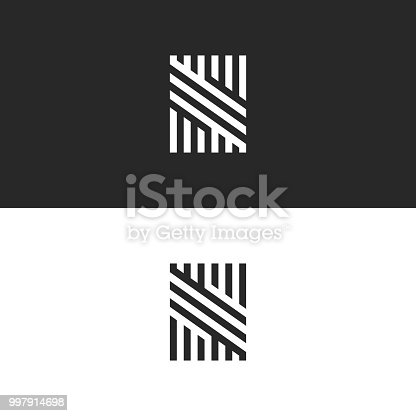 Modern hipster monogram S letter logo, creative trendy business card hipster initial emblem, black and white overlapping parallel lines minimal style