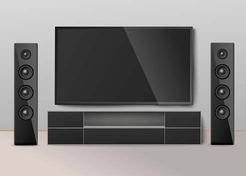 Modern home cinema system a vector realistic 3D illustration