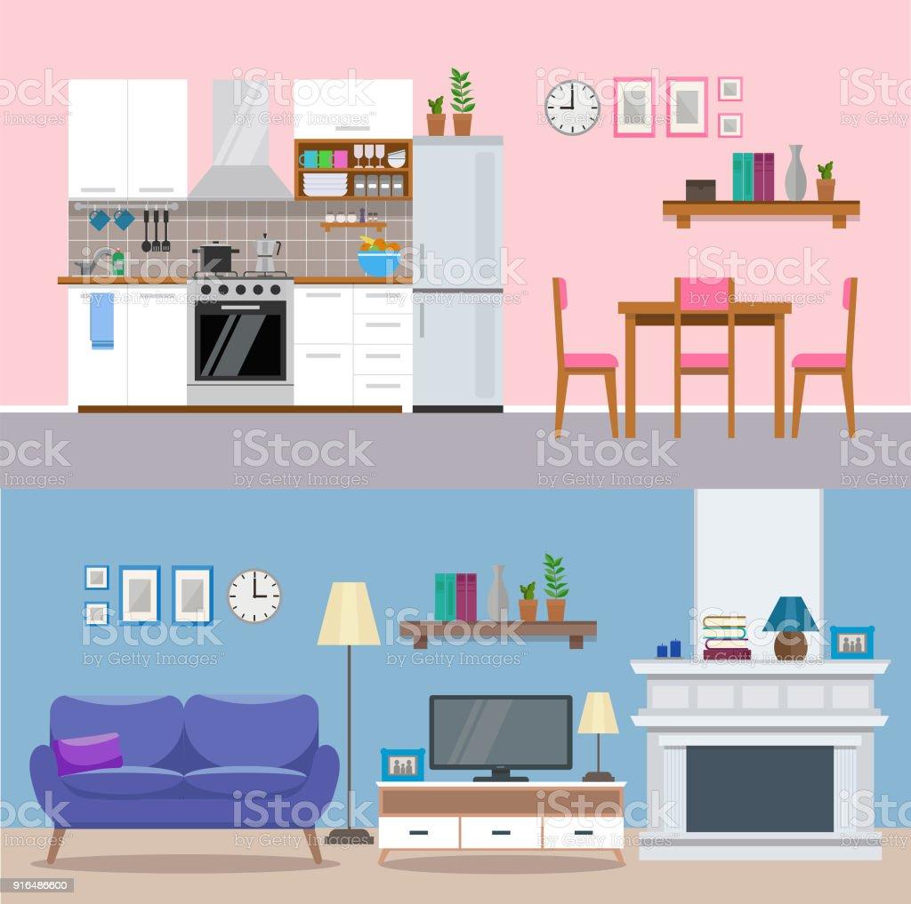 Moderne Wohnlandschaft Küche Und Wohnzimmer Einer Wohnung Flachen ...