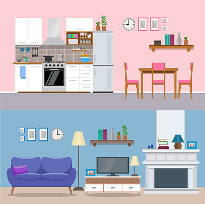 Modern home interior, kitchen and living room of an apartment. Flat style, vector illustration