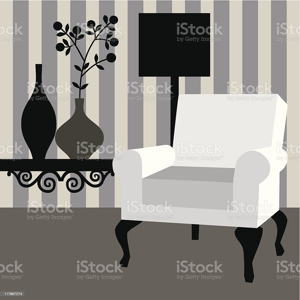 Modern home interior vector art illustration