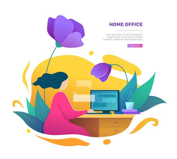 フラットスタイルの近代的なホームオフィスの概念 - テレワーク点のイラスト素材/クリップアート素材/マンガ素材/アイコン素材