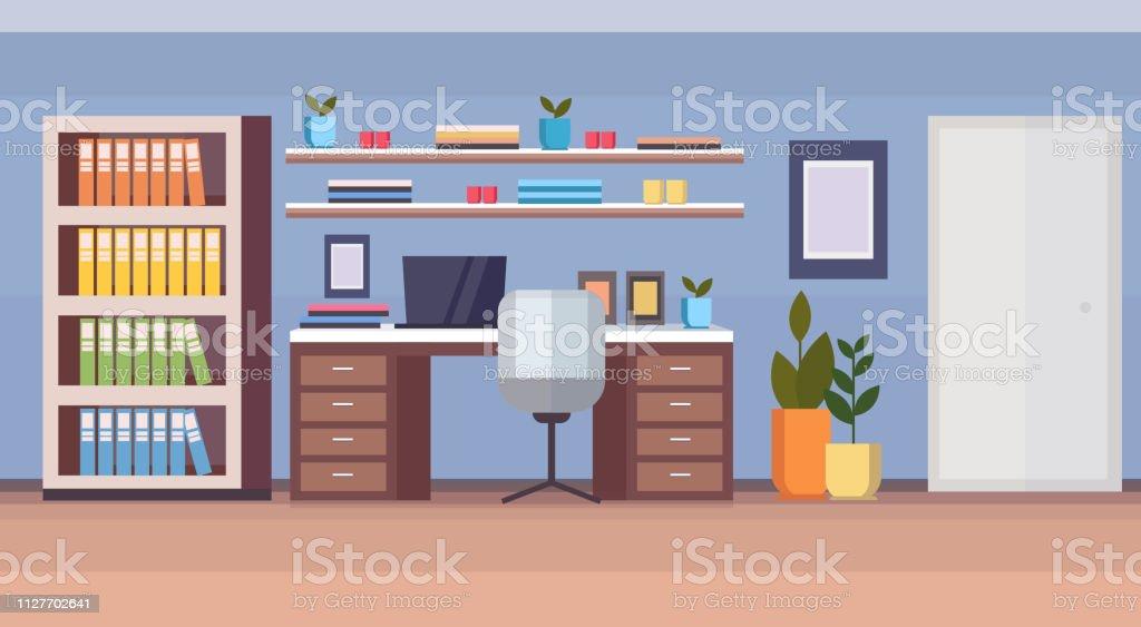 Lieu de travail de bureau à la maison moderne armoire vide sans
