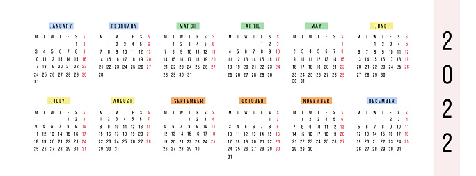 Modern horizontal calendar 2022 year. Planner in bright colorful style. Minimalistic annual diary pages. Week starts Monday. Stationery template. Yearly quadratic organizer. Vector illustration.