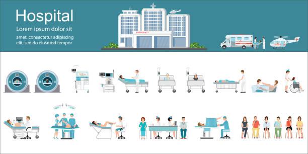 bildbanksillustrationer, clip art samt tecknat material och ikoner med modern sjukhusbyggnad och sjukvård infographics. - sjukhusavdelning
