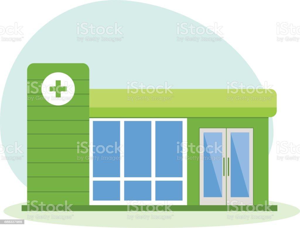 Moderne Klinikgebäude, Gesundheitssystem, medizinische Einrichtung mit allen Abteilungen – Vektorgrafik