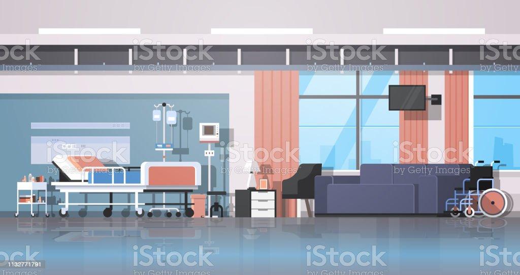 Moderne Hôpital Chambre Intérieur Thérapie Intensive Patient Ward Soins  Infirmiers Lit Sur Roues Confortable Canapé Et