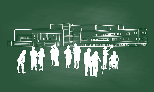 Modern Hospital With Silhouettes Chalkboard
