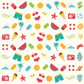 Modern Hot Summer Beach Seamless Pattern Illustration