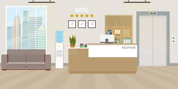 modern otel resepsiyonu iç düz tasarım. oda mobilya. - hotel reception stock illustrations