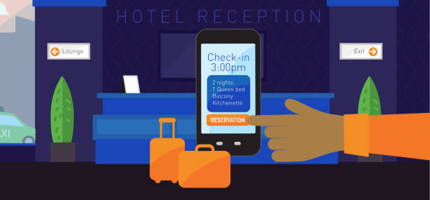 moderne hotel-szene - rezeptionseingang stock-grafiken, -clipart, -cartoons und -symbole
