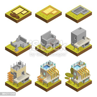 Modern house building stages. Foundation stages of modern contemporary house build project. Vector flat style cartoon illustration isolated on white background