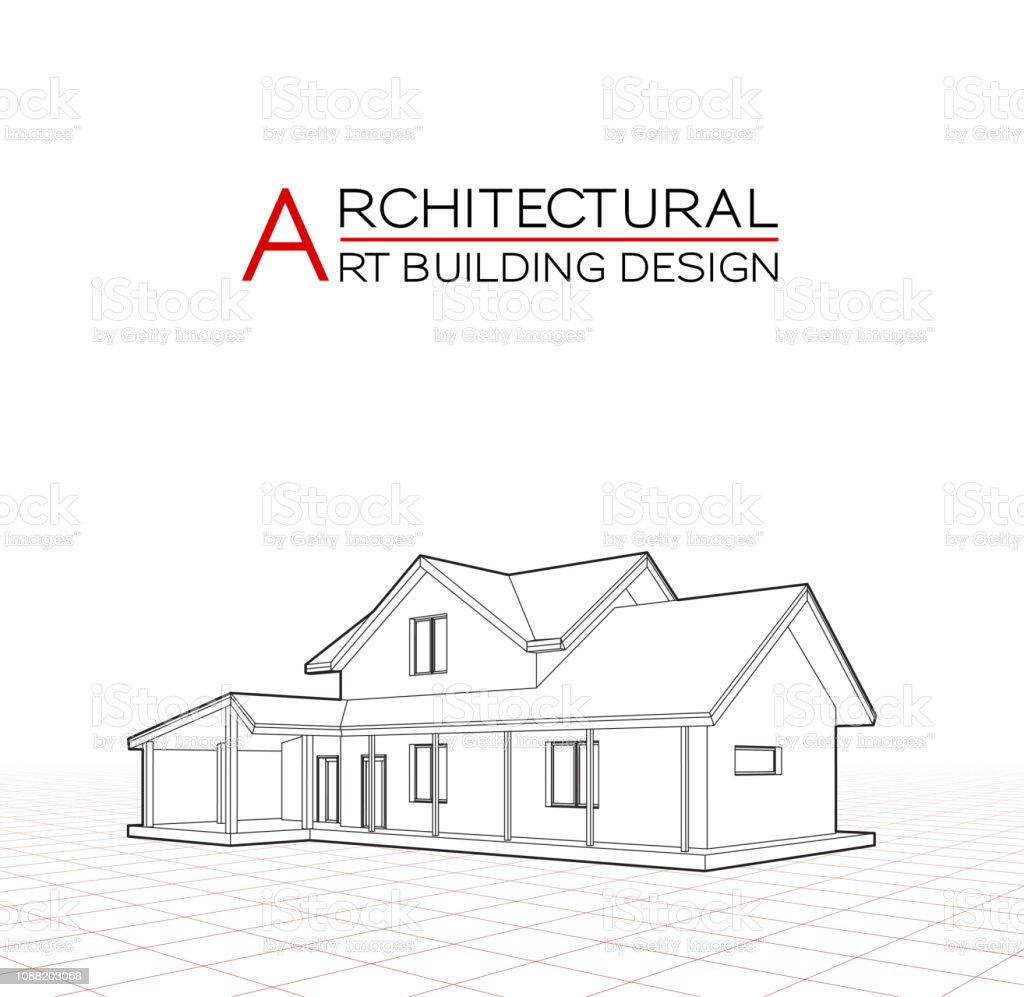 Modern house building vector architectural drawings 3d illustration illustration