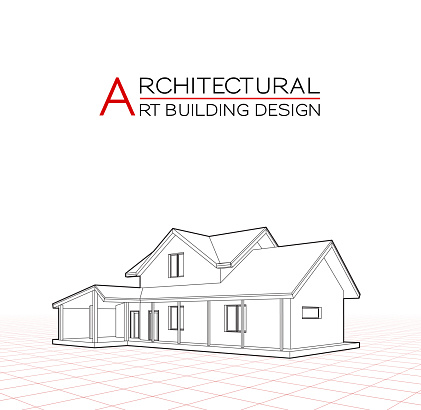 Modern house building vector. Architectural drawings 3d illustration