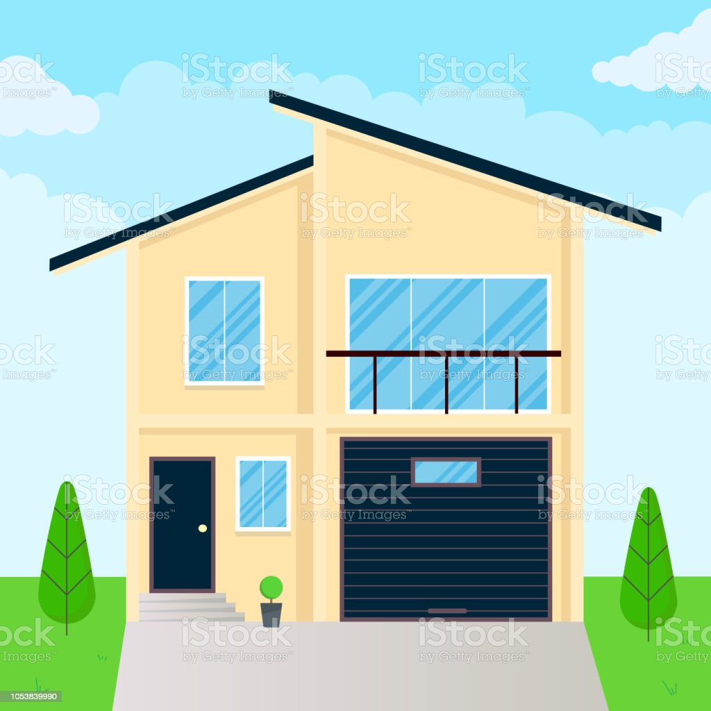 Modern House Exterior Flat Style Design Vector Illustration With Roof Windows And Shadows Classic Townhouse Apartments Fasade Green Grass And Trees Cloudy Sky Stock Illustration Download Image Now Istock