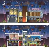 Modern house facade section night