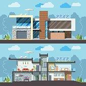 Modern house facade section