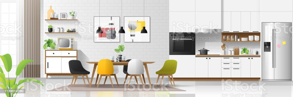 Modern house interior background with kitchen and dining room combination , vector , illustration Modern house interior background with kitchen and dining room combination , vector , illustration Apartment stock vector