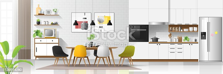 Modern house interior background with kitchen and dining room combination , vector , illustration