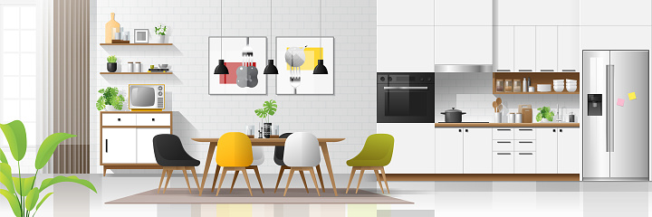 Modern House Interior Background With Kitchen And Dining Room Combination Vector Illustration Stock Illustration - Download Image Now
