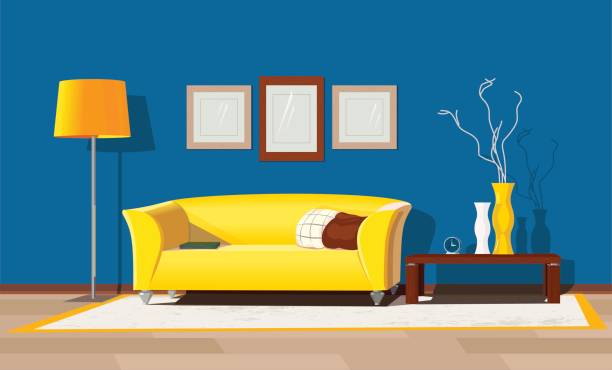 Modern house interior Living room decorative design. Modern house interior. Freehand drawn cartoon style. Cozy elegant furniture. Comfortable classic sofa and table. Luxury indoor apartment lifestyle. Vector illustration inside of stock illustrations