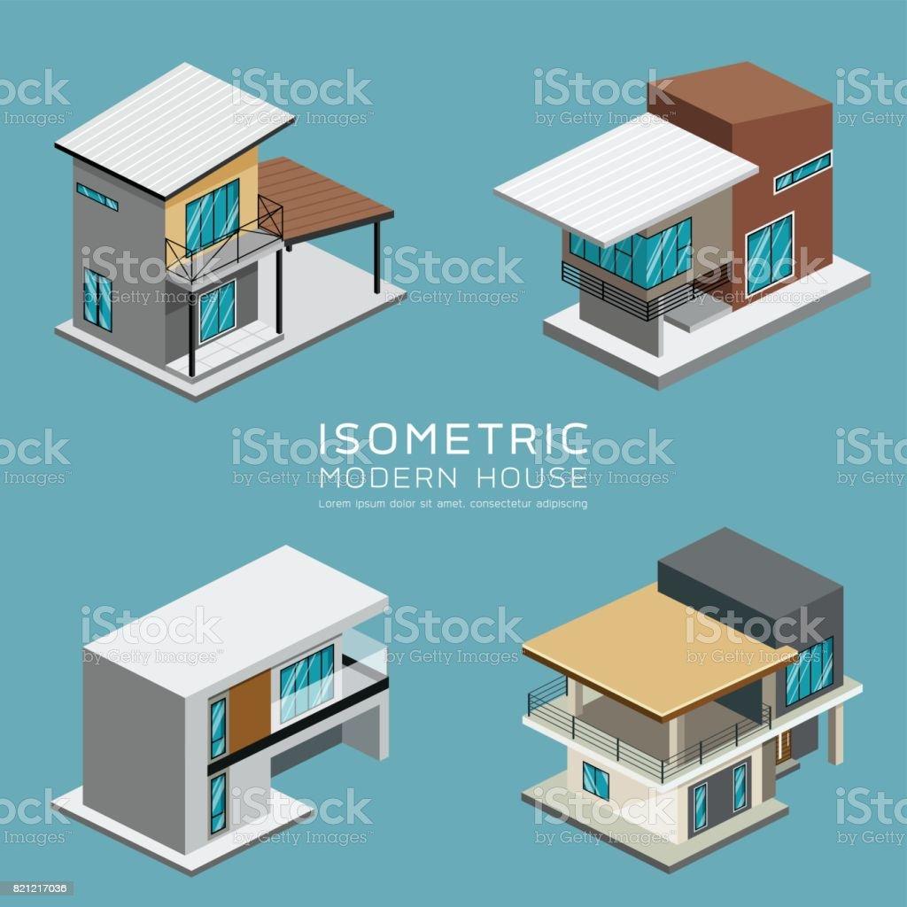 Modernes Haus Isometrische Kollektionen Entwerfen Stock Vektor Art