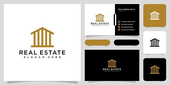 modern house or home logo vector design concept line style