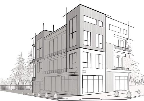 Sketch of a modern house.