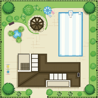 Modern house with pool and garden. Top view